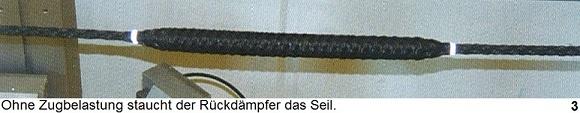 Rückdämpfer staucht Seil ohne Zugbelastung